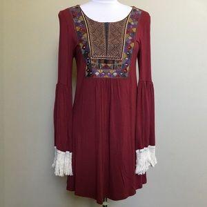 Boutique BELLAMIE burgundy fringe dress M